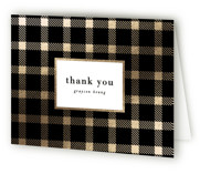 This is a black graduation thank you card by Hooray Creative called Buffalo Plaid with foil-pressed printing on strathmore in standard.