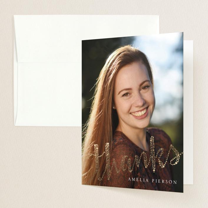 """Joyful Greeting"" - Modern Foil-pressed Graduation Announcement Thank You Cards in Pearl by Erin Deegan."