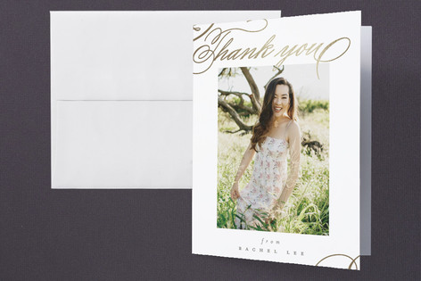 Swash Foil-Pressed Graduation Announcement Thank You Cards