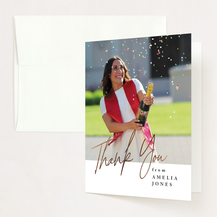 """""""Written Out"""" - Foil-pressed Graduation Announcement Thank You Cards in Ebony by Owl and Toad."""