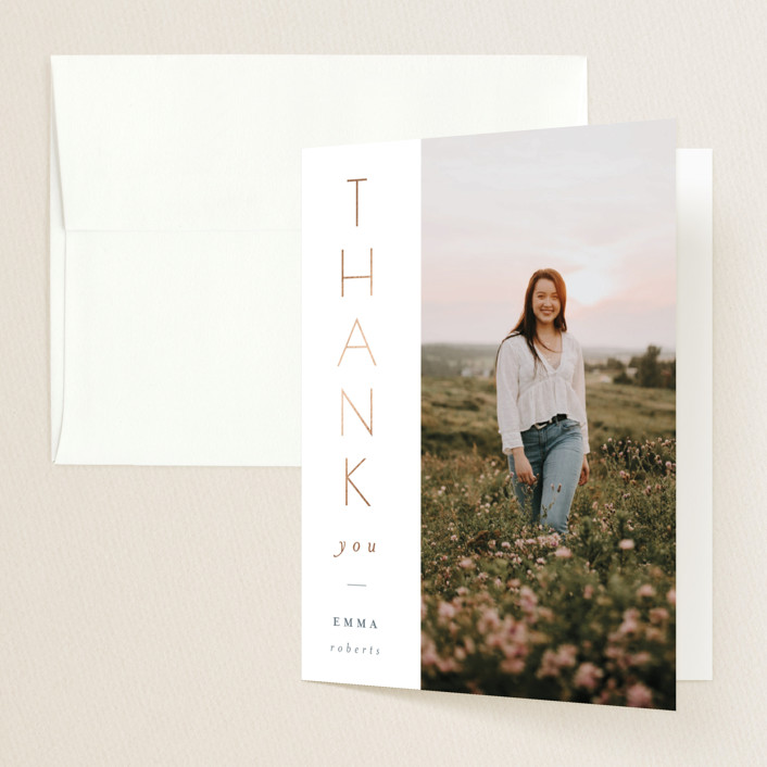 """Vertical"" - Foil-pressed Graduation Announcement Thank You Cards in Snow by Erin German Design."