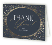 This is a blue graduation thank you card by Nicole Barreto called Shimmering Dots with foil-pressed printing on strathmore in standard.
