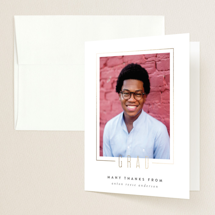 """Boxed"" - Foil-pressed Graduation Announcement Thank You Cards in Gilded by Ink and Letter."