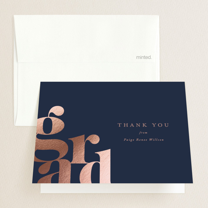 """Bold Grad"" - Modern Foil-pressed Graduation Announcement Thank You Cards in Navy by Ana Sharpe."