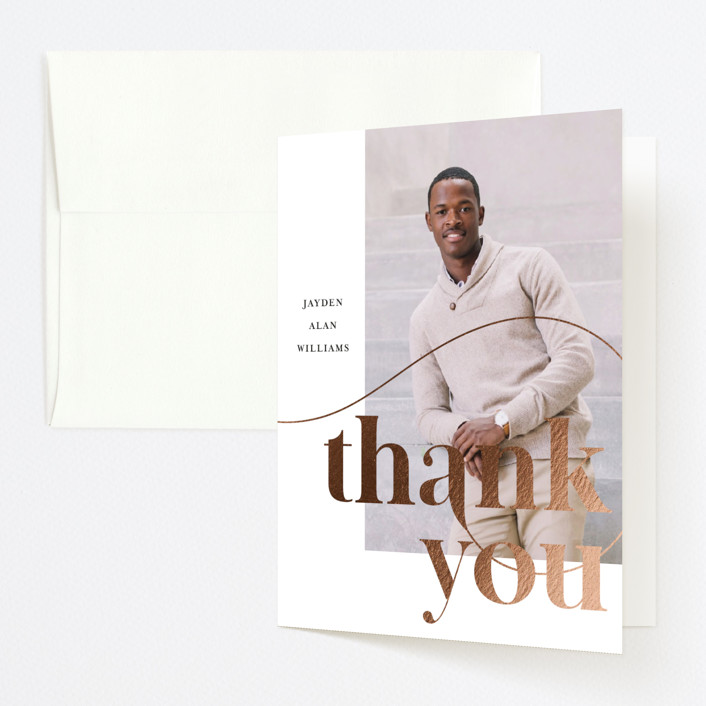"""""""Modern Swash"""" - Foil-pressed Graduation Announcement Thank You Cards in Ebony by Four Wet Feet Studio."""