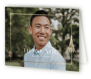 This is a white graduation thank you card by Lauren Chism called Fringe with foil-pressed printing on strathmore in standard.