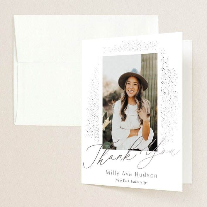 """""""Simply Sparkling"""" - Modern Foil-pressed Graduation Announcement Thank You Cards in Snow by Nicoletta Savod."""