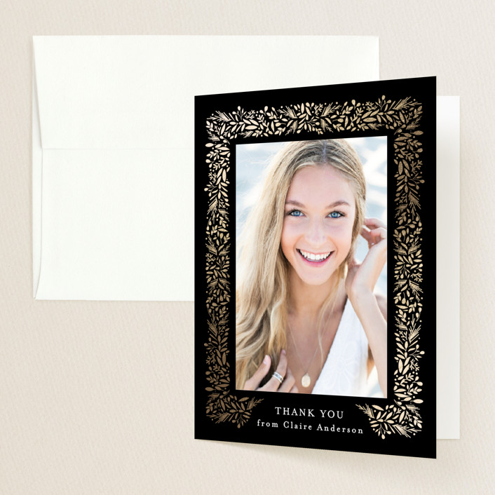 """freshly framed"" - Modern Foil-pressed Graduation Announcement Thank You Cards in Onyx by Jennifer Postorino."