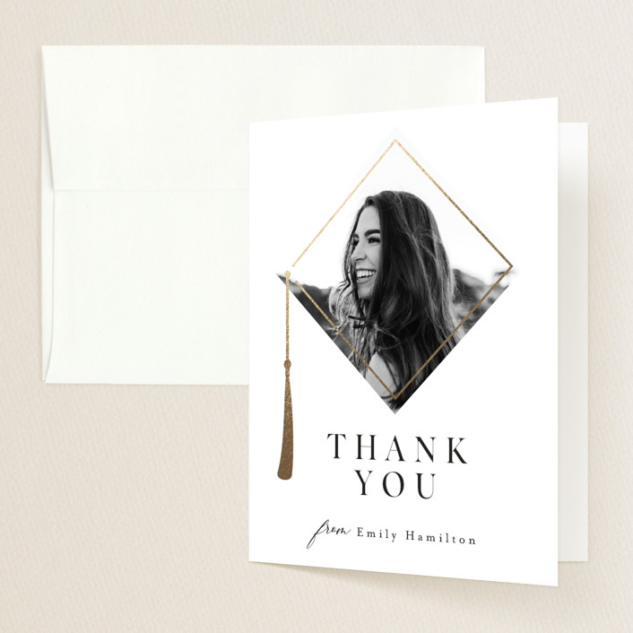 """""""Proudest Moment"""" - Modern Foil-pressed Graduation Announcement Thank You Cards in Ink by Caitlin Considine."""
