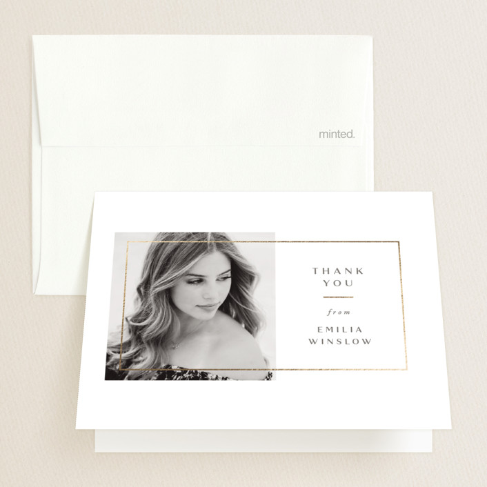 """""""Simple Frame"""" - Foil-pressed Graduation Announcement Thank You Cards in Silk by Jen Banks of Ink and Letter."""