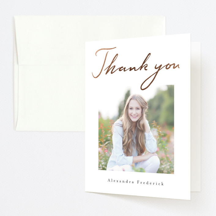 """Hand-written Success"" - Foil-pressed Graduation Announcement Thank You Cards in Ivory by Susanne Kasielke."