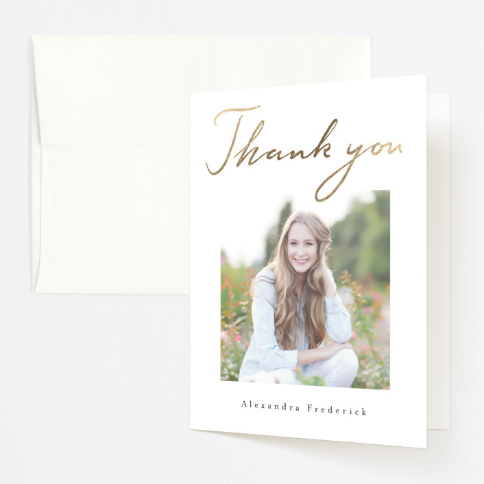 """""""Hand-written Success"""" - Foil-pressed Graduation Announcement Thank You Cards in Ivory by Susanne Kasielke."""