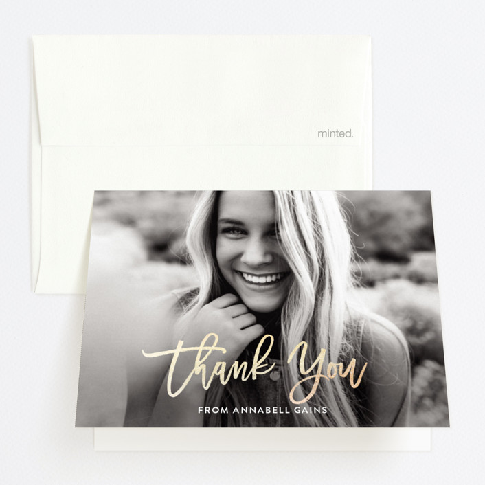"""""""The Future Is Bright"""" - Funny Foil-pressed Graduation Announcement Thank You Cards in Noir by Roxy Cervantes."""
