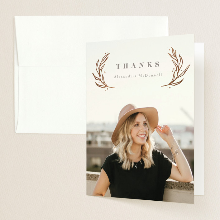 """""""Shiny Wreath"""" - Foil-pressed Graduation Announcement Thank You Cards in Slate by Anastasia Makarova."""