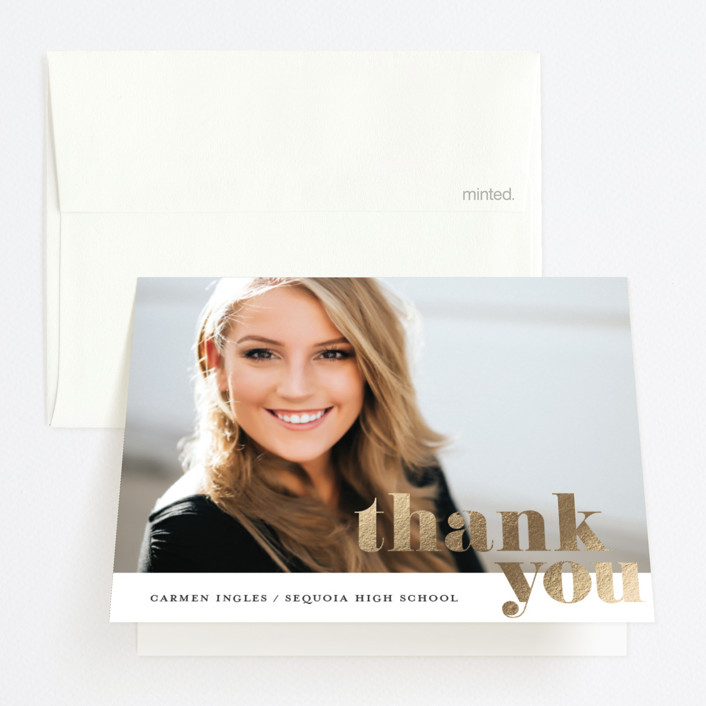 """""""Askew"""" - Foil-pressed Graduation Announcement Thank You Cards in Charcoal by Stacey Meacham."""