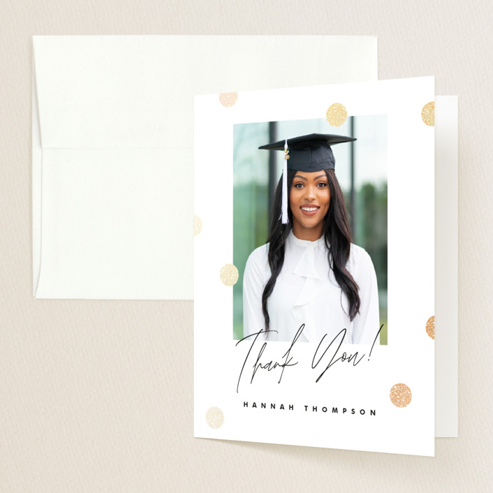 """""""You Did It!"""" - Preppy Foil-pressed Graduation Announcement Thank You Cards in Pearl by Pink House Press."""