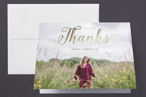 Stylish and Elegant Foil-Pressed Graduation Announcement Thank You Cards