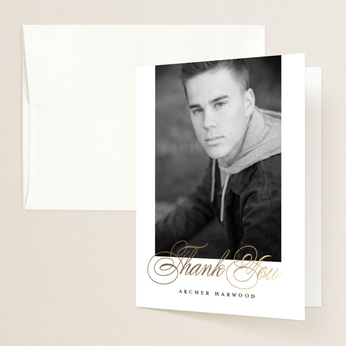 """""""Because of you"""" - Foil-pressed Graduation Announcement Thank You Cards in Moon by Pink House Press."""