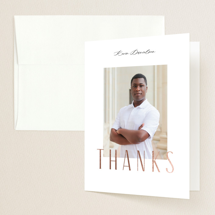 """""""Imagine"""" - Foil-pressed Graduation Announcement Thank You Cards in Cotton by Jennifer Wick."""