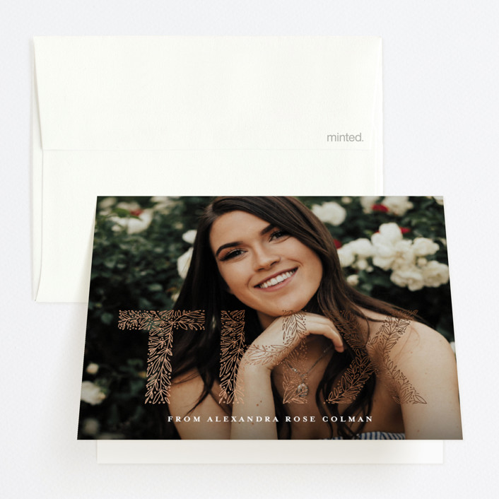 """""""floral letters"""" - Foil-pressed Graduation Announcement Thank You Cards in Snow by Anastasia Makarova."""