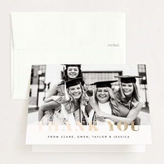 """""""Celebrate!"""" - Foil-pressed Graduation Announcement Thank You Cards in Ivory by Kasia Labocki."""