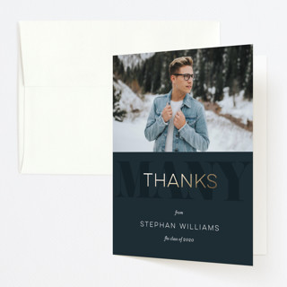 """classic party"" - Foil-pressed Graduation Announcement Thank You Cards in Dark Aqua by Dawn Jasper."