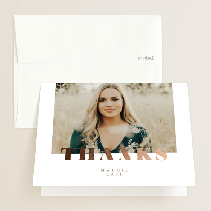"""""""Forward Steps"""" - Foil-pressed Graduation Announcement Thank You Cards in Golden by Carrie ONeal."""
