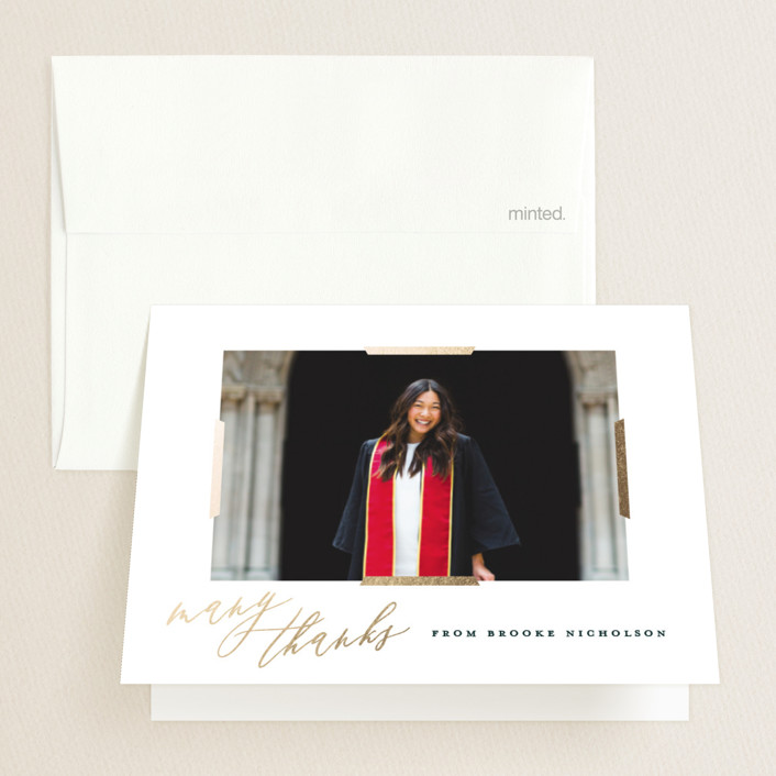 """Great Achievement"" - Foil-pressed Graduation Announcement Thank You Cards in Cream by Oscar & Emma."