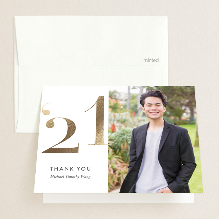 """Annos"" - Foil-pressed Graduation Announcement Thank You Cards in Pearl by Jessica Williams."
