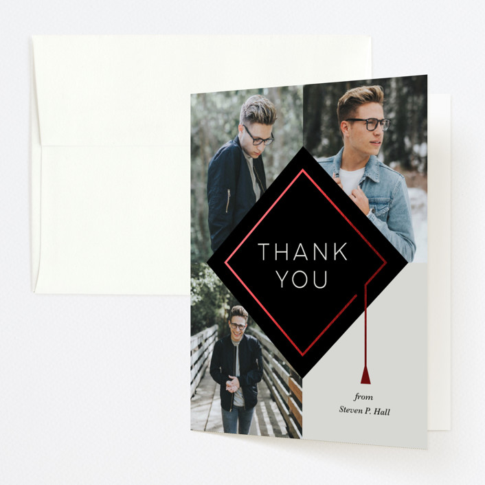 """modern cap"" - Modern Foil-pressed Graduation Announcement Thank You Cards in Noir by Dawn Jasper."