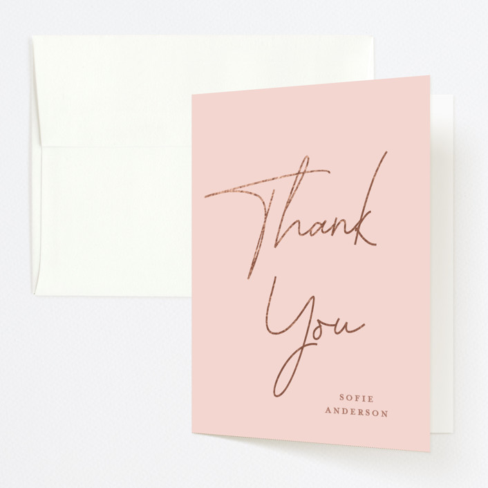 """""""Sheer"""" - Modern, Preppy Foil-pressed Graduation Announcement Thank You Cards in Blush by Kerry Doyle - Paper Dahlia."""