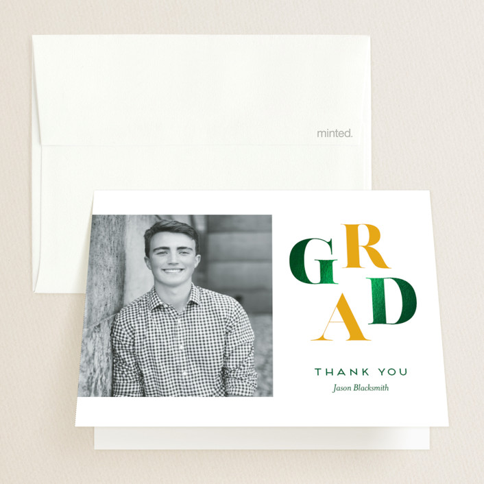 """""""Ultimate"""" - Preppy Foil-pressed Graduation Announcement Thank You Cards in Mustard by Genna Blackburn."""