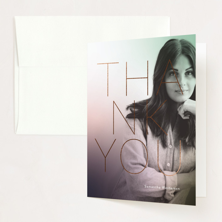 """""""Simple Hint"""" - Foil-pressed Graduation Announcement Thank You Cards in Lavender by Simona Camp."""