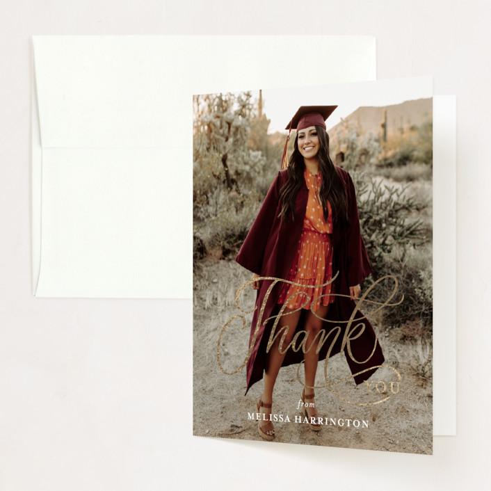"""Script Grad"" - Foil-pressed Graduation Announcement Thank You Cards in Cloud by Erin German."