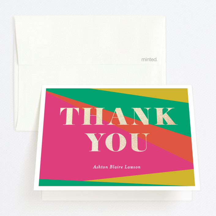 """""""Colorful New Year"""" - Modern Foil-pressed Graduation Announcement Thank You Cards in Petal by Little Print Design."""