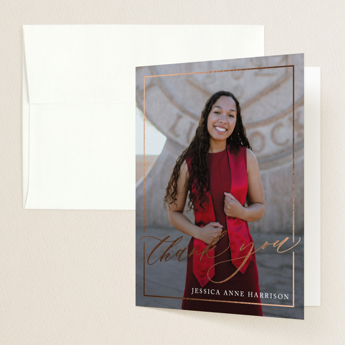 """Break boundaries"" - Foil-pressed Graduation Announcement Thank You Cards in Ivory by Yaling Hou Suzuki."