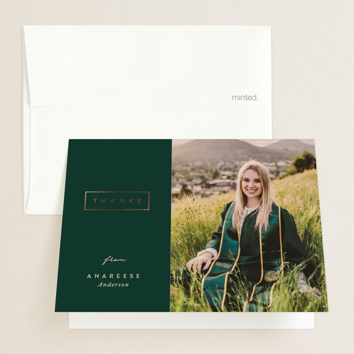 """""""Classic Graduate"""" - Foil-pressed Graduation Announcement Thank You Cards in Ivy by Pine Street Creative."""