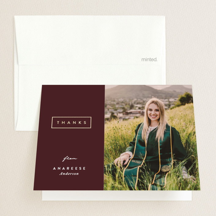 """""""Classic Graduate"""" - Foil-pressed Graduation Announcement Thank You Cards in Ivy by Melissa Casey."""