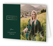 This is a green graduation thank you card by Pine Street Creative called Classic Graduate with foil-pressed printing on strathmore in standard.