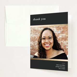 """""""Defined"""" - Foil-pressed Graduation Announcement Thank You Cards in Slate by Pine and Lark."""