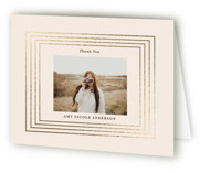 This is a beige graduation thank you card by Teju Reval called Gilded moments with foil-pressed printing on strathmore in standard.