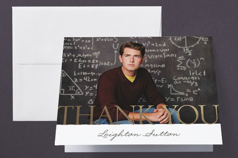 larger than life Foil-Pressed Graduation Announcement Thank You Cards