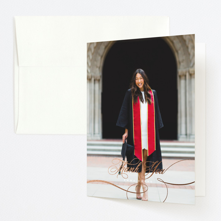 """""""Class of Swash"""" - Foil-pressed Graduation Announcement Thank You Cards in Cloud by Ella Weaver."""