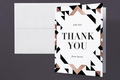 Geometric Foil-Pressed Graduation Announcement Thank You Cards