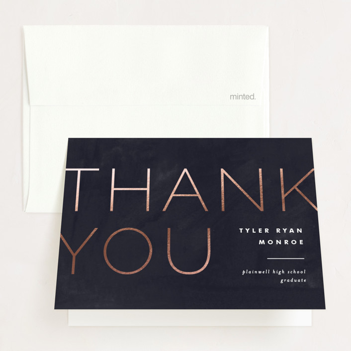 """""""Great Grad"""" - Foil-pressed Graduation Announcement Thank You Cards in Navy by Pixel and Hank."""