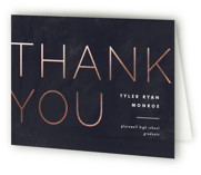This is a blue graduation thank you card by Pixel and Hank called Great Grad with foil-pressed printing on strathmore in standard.
