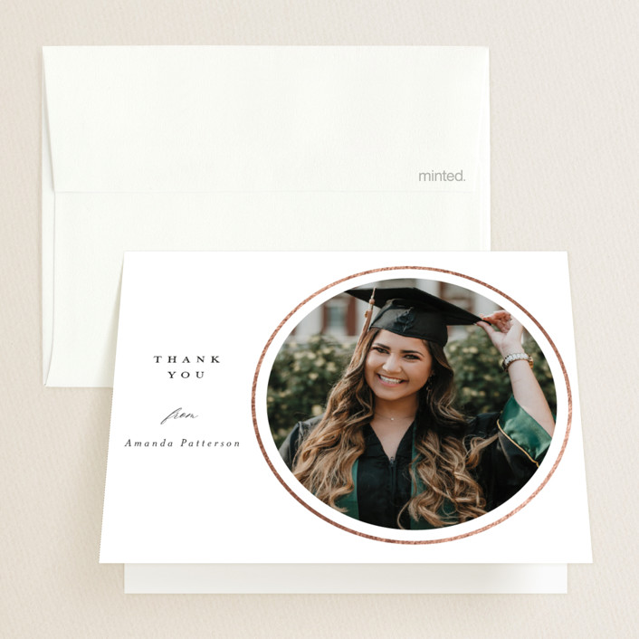 """""""Intersect"""" - Modern Foil-pressed Graduation Announcement Thank You Cards in Pearl by Beth Schneider."""