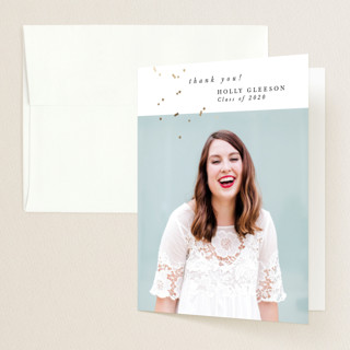 """""""Confetti Grad"""" - Foil-pressed Graduation Announcement Thank You Cards in Pearl by Bethany McDonald."""