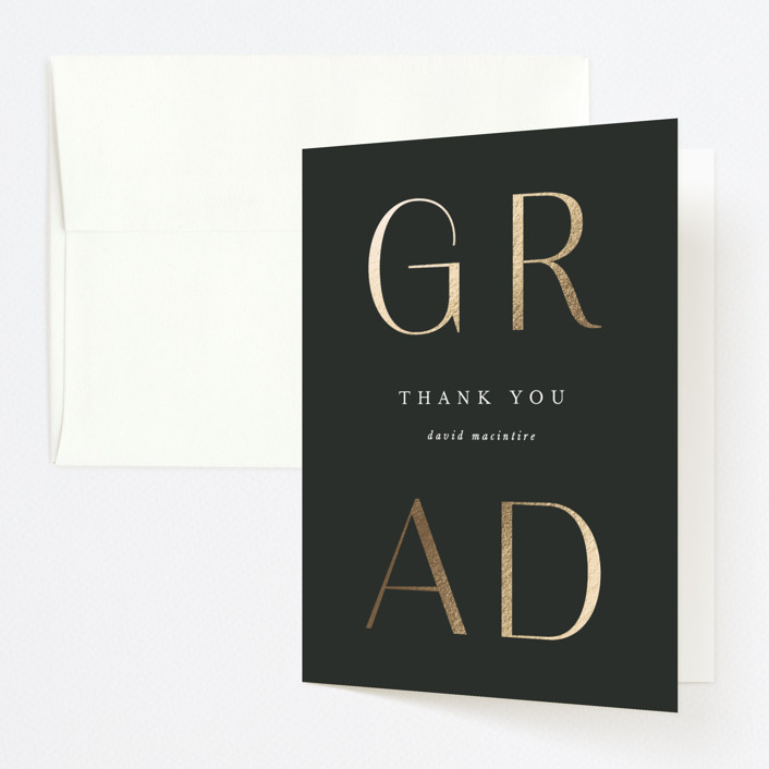 """""""Collegiate"""" - Foil-pressed Graduation Announcement Thank You Cards in Ebony by Leah Bisch."""