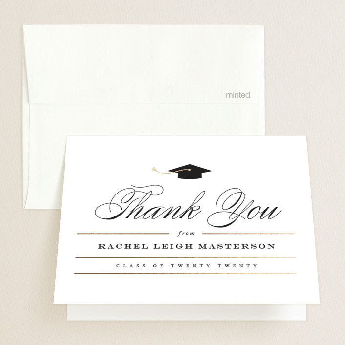 """""""Celebration"""" - Foil-pressed Graduation Announcement Thank You Cards in Cotton by Jennifer Postorino."""